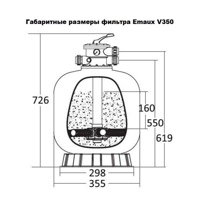 Габариты фильтра Emaux V350