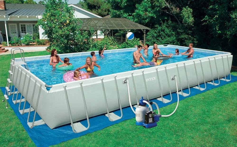 Каркасный бассейн с прямоугольной в основании чашей