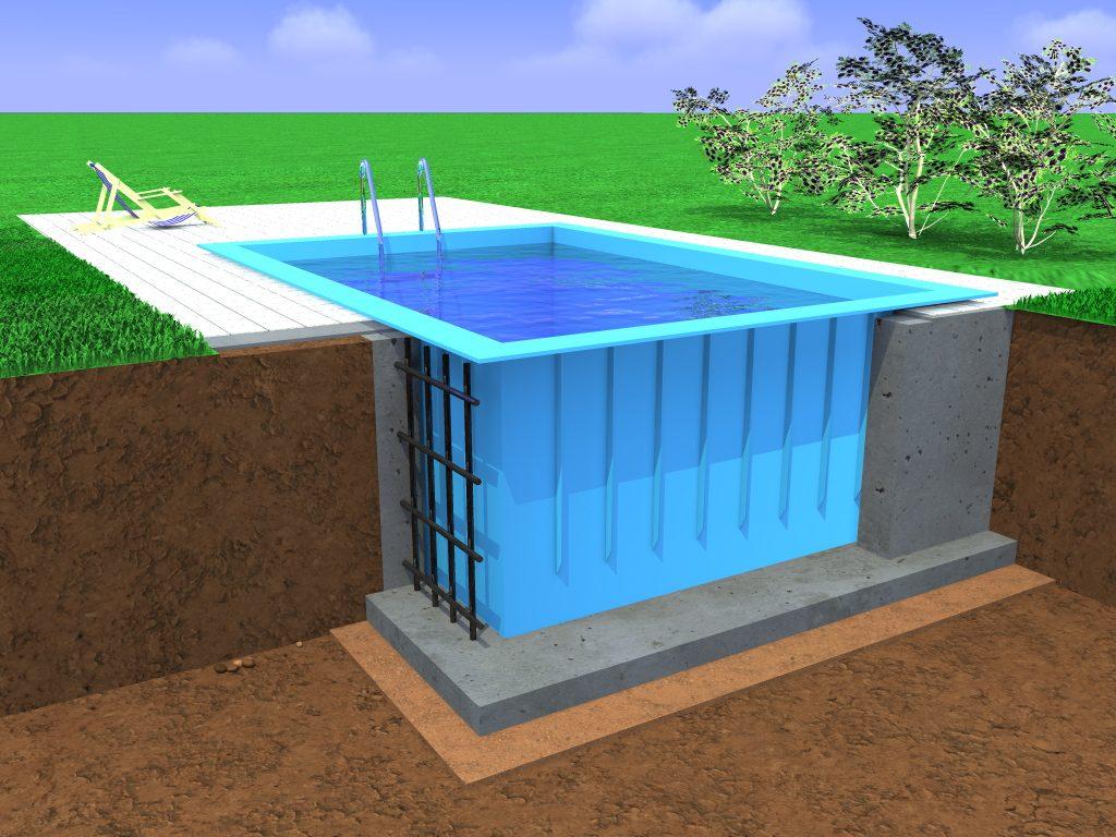 Полимерная чаша строгой прямолинейной формы в монолитном бетонном ложе