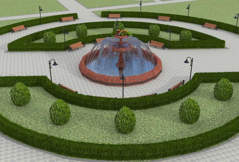 Визуализация проекта фонтана в компьютерной графике