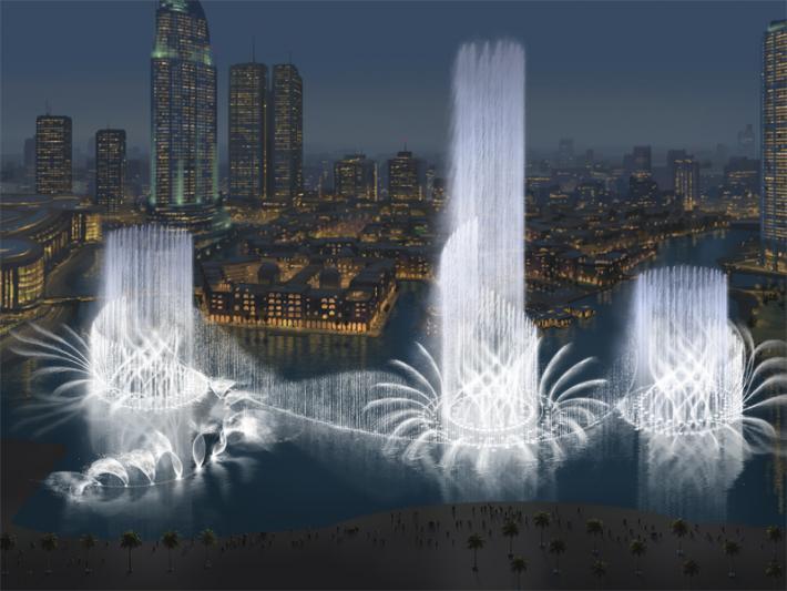 Сложная, профессионально подготовленная система пушек в знаменитом танцующем фонтане Дубая