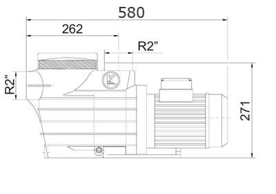 Размеры насоса для бассейна Kripsol EP 200
